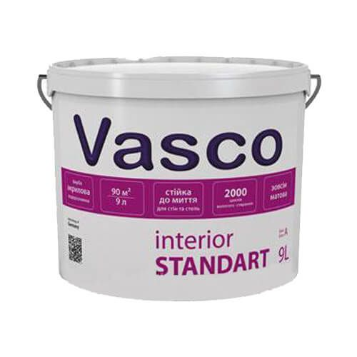 Краска акриловая интерьерная Vasco Standart белая 0,9л