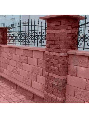 Крышка для забора и колонн вишневая 600х480х60мм Авеню (двухскатная полнотелая со срезанным конусом)