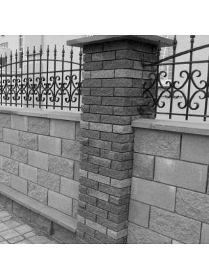 Блок парканний сірий 390х190х190мм СБ-ПРН-Ц-ЛРБ Авеню (пустотілий)