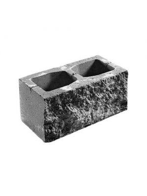 Заборний бетонний блок сірий 390х190х190мм СБ-ПРН-Ц-ЛГ Авеню (пустотілий)