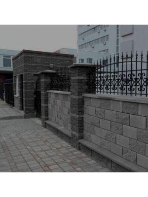 Заборний бетонний блок графіт 390х190х190мм СБ-ПРН-Ц-ЛГ Авеню (пустотілий)