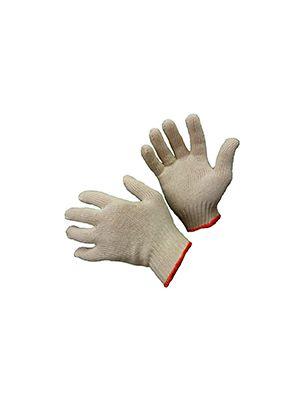 Перчатки трикотажные ХБ, без крапки, оверлок на манжете желтого цвета, Набор 10 пар (WERK)