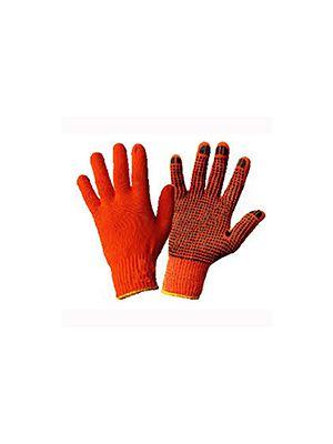 Перчатки трикотажные ХБ, черная ПВХ капля, оверлок на манжете желтого цвета, (WERK)