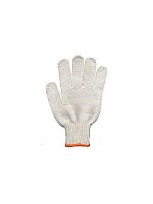 Перчатки трикотажные ХБ, без крапки, оверлок на манжете оранжевого цвета, Набор 10 пар (Сталь)