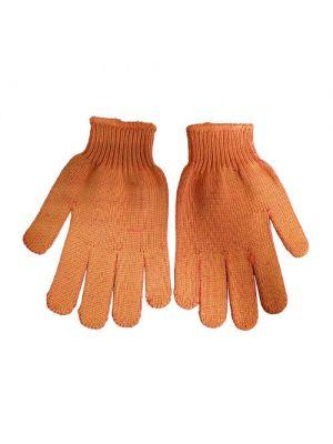 Рукавицы трикотажные ХБ/ПЕ, оранжевый цвет, синяя ПВХ капли (Сталь)