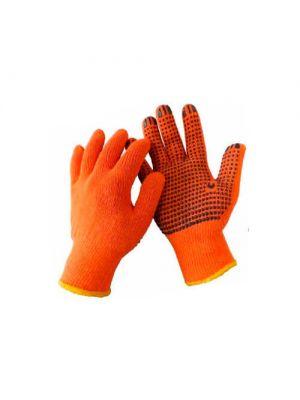 Перчатки трикотажные ХБ, черная ПВХ капля, WERK (WE2129)