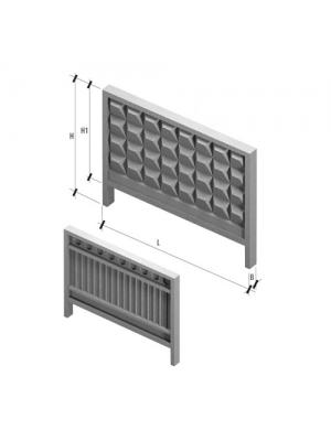 Плита заборная ЗП 400-8 3980x160x2550 мм (панель ограждения)