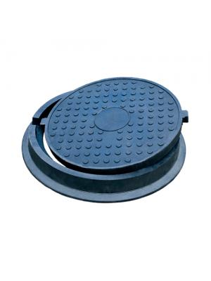 Люк канализационный полимерпесчаный Л-60.80.10-ПК черный 4,5 т 770 мм