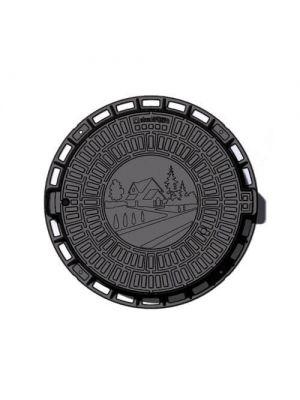 Люк садовый пластиковый черный Д 800 мм