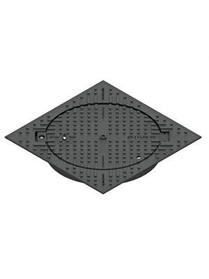 Люк чугунный тяжелый квадратный Л-60.75.10-ВЧ черный с замком 750х750 мм
