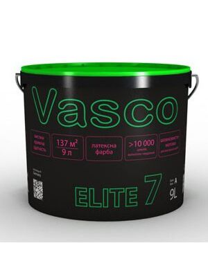 Краска латексная износоустойчивая матовая ELITE 7 VASCO белая 9л