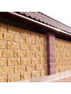 Колотий блок декоративний гірчичний 400х200х200мм двосторонній скол Золотий Мандарин