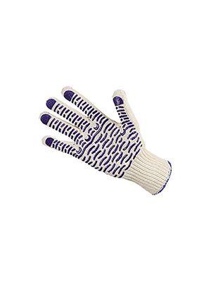 Перчатки трикотажные ХБ (черная ПВХ Волна)