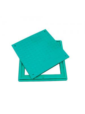 Люк канализационный полимерпесчаный квадратный Л зеленый 1,5 т 640х640 мм