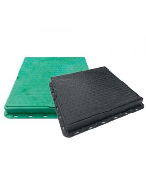 Люк садовый полимерный зеленый квадратный 680х680 мм