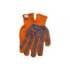 Рукавиці трикотажні ХБ/ПЕ, помаранчевий колір, сині ПВХ краплі (Сталь)