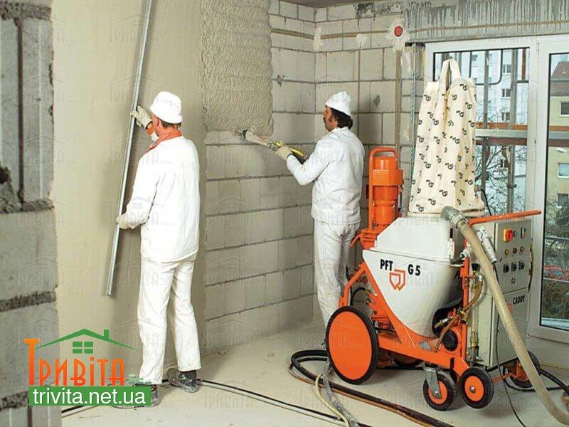 Фото 1. Оштукатуривание стен из газосиликата