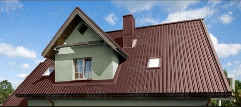 Фото 2. Профнастил на крыше дома