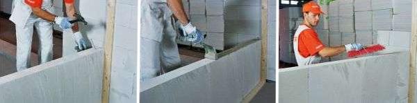 Кладка перегородкових стін з газобетону Aeroc