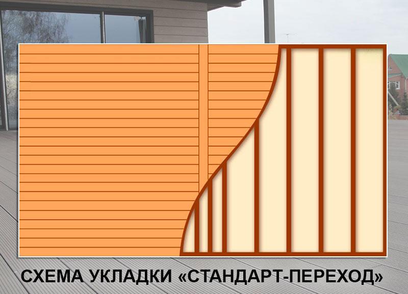 Укладка террасной доски Стандарт-переход