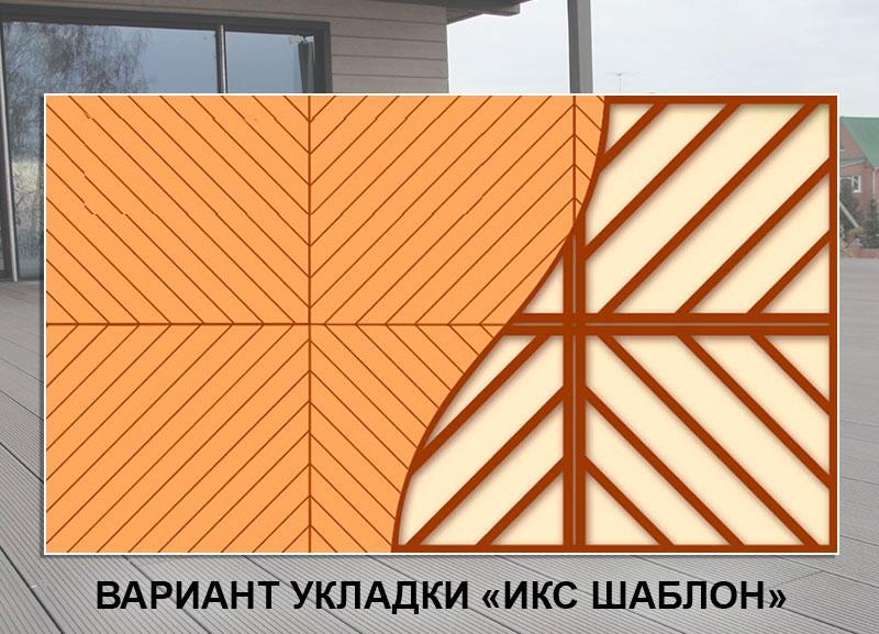 Укладка террасной доски Икс-шаблон