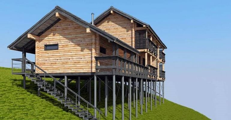 Будинок на пальовому фундаменті