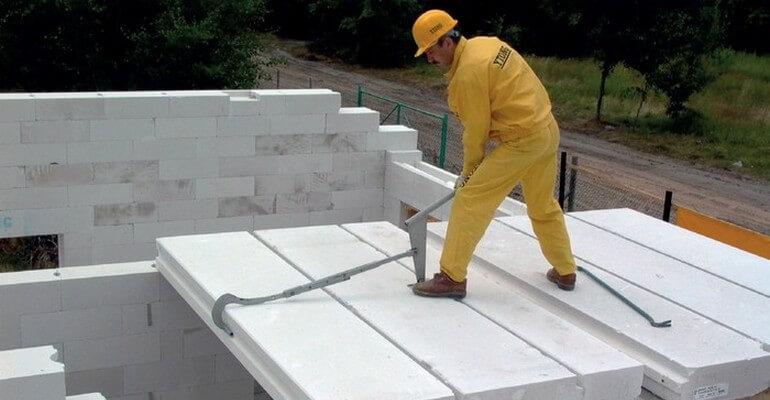 Монтаж газобетонных плит перекрытия