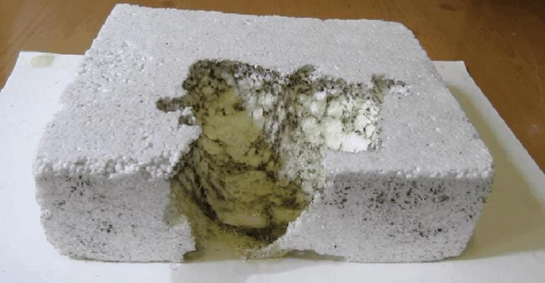 Пенопласт сгрызанный мышами