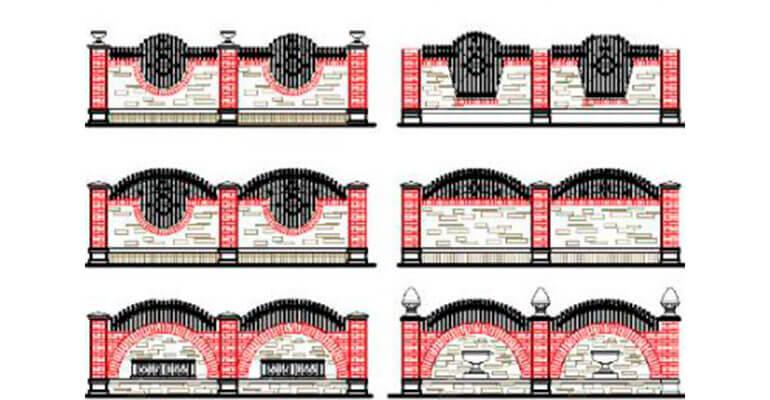 Фото 3. Види парканів з цегли