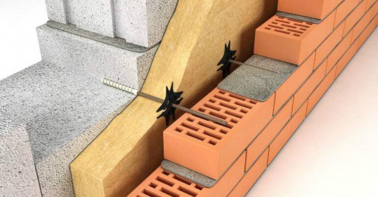 Гнучкі зв'язки для з'єднання утеплювача, газоблоку і цегли