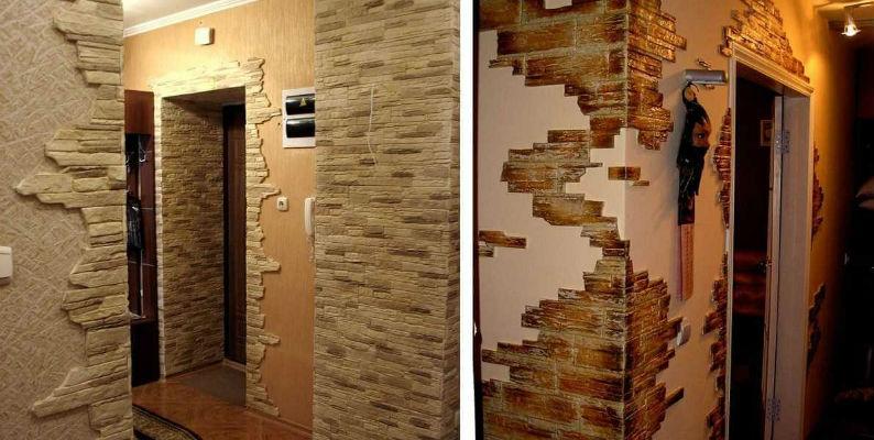 Дизайн коридора с декоративным камнем