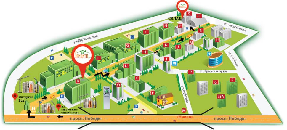 Контакти компанії Тривіта - карта бізнес парк Нивки Сіті